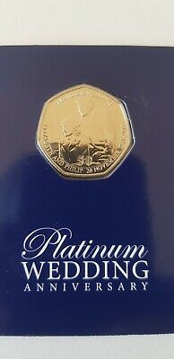 Royal wedding Platinum anniversary Uncirculated 50p coin Queen Prince Philip