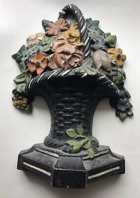 "Vintage Hubley Cast Iron Floral basket Door Stop 5 3/4"" H with Original Paint"