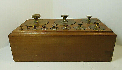 Antique Vintage Brass Weight Set Apothecary Scale 5lbs - 1/8 oz Wooden Box MS82