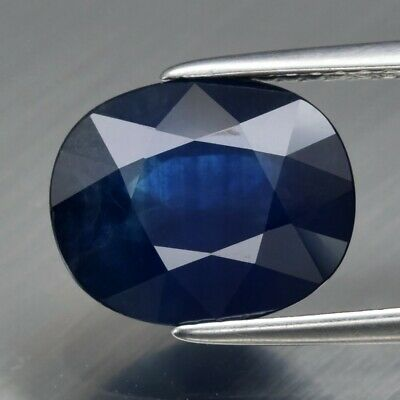 4.09ct 10.7x8.7mm Oval Natural Deep Blue Sapphire Kenya, Heated Only