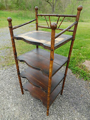 Antique 1890s Victorian Tiger Bamboo Chairside Bookshelf Bookcase Shelves