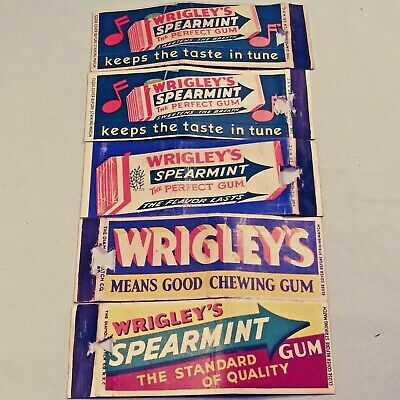 5 vintage Matchbook Covers - Wrigley's Spearmint Chewing Gum