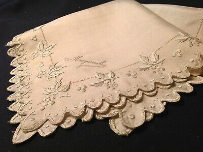 "#5619🌟Antique 1800s Silk/Silk HOLIDAY HOLLY Monogram ""MARGUERITE"" Wedding Hanky"