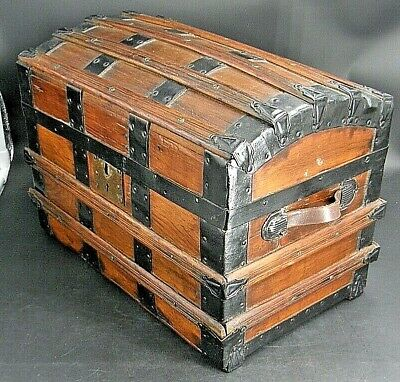 "10½""H 14½""L 9""D - ANTIQUE 1800s - toy camel-back steamer trunk SALESMAN'S SAMPLE"