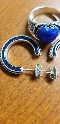 Southwest Heart Shaped Lapis Ring and Lapis Hoop Earrings