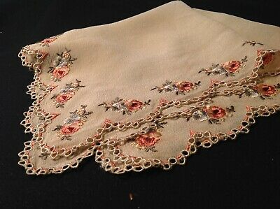 #5621🌟GORGEOUS 1800s CUTTER French Floral Silk Emb On Silk Wedding Handkerchief