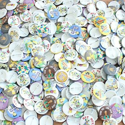 Wholesale Job Lot 400 x 38mm Pin Badges Official Cartoon The Simpsons Characters