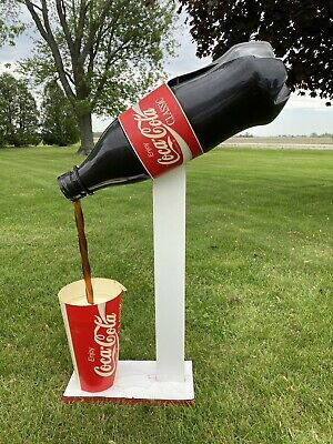 Large Vintage Coca Cola Diet Coke Bottle Pouring Into Cup Display 1980's