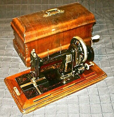 1894 Very Rare Adam Opel B Working Antique Hand Crank Sewing Machine Wood Inlay