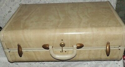 Vintage Samsonite Cream Tan Yellowish Luggage Travel Bag/KEY..SCHWAYDER BROS.