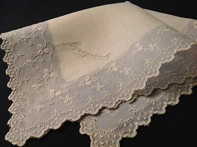 "#5623🌟ESTATE Antique 1800s French Monogram ""MARGUERITE"" Wedding Handkerchief"