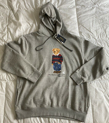 Polo Ralph Lauren Men's XL Gray Rugby Bear Hoodie Pullover NWT