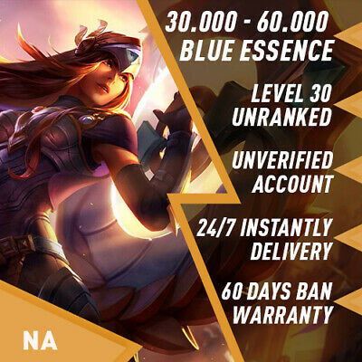 NA League of Legends LOL Account Smurf 30.000 - 70.000 BE Unranked Level 30