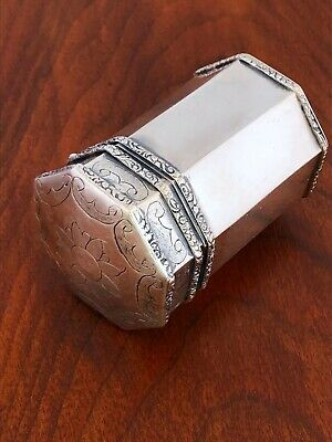 ~ Superb Octagonal Hand Chased Indian ? Silver Betel / Pandan Box
