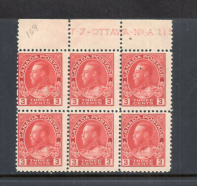 Canada block of 6 stamps CV$160 SC#109 Impt KGV OG 1911-1925 unused ID#S90