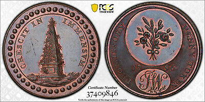 1796 1/2D Conder Token Warwickshire County DH-25 MS64BN PCGS-From VDB Coins