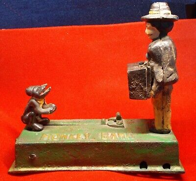 Cast Iron Monkey Bank made in Early Taiwan weighs 3 pounds has Most Orig Paint