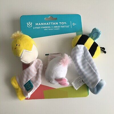 Manhattan Toy Co Spring Foot Finders Wrist Rattle Set NEW