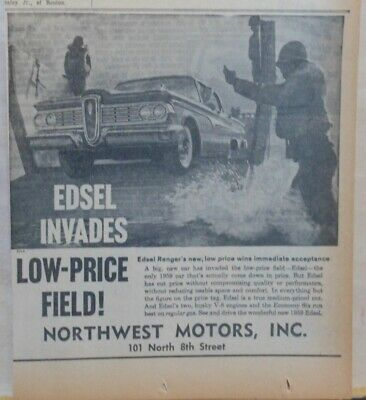 1959 newspaper ad for Ford - 1959 Edsel Ranger Invades! immediate acceptance