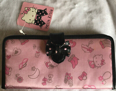 NWT! 2005 Hello Kitty Wallet Satin Long Wallet- Pink Print w/ Black Trim & Bow