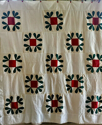 Quilt Top Vintage Antique Applique Red and Green 75in. X 82in.