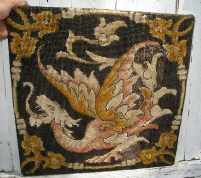 Victorian Antique Mythical Flying Dragon Needlepoint Tapestry / Decorative Arts