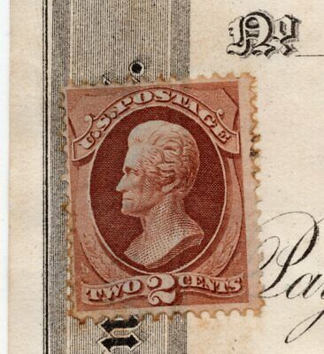 US revenue stamp paper bank check SC#146 misuse not cancelled Conn 1874 ID#S124