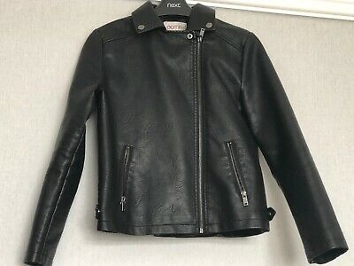 Girls Outfit black leather look jacket coat Age 12 years