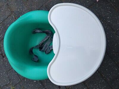 PRISTINE Bumbo baby portable seat with tray and straps turquoise green