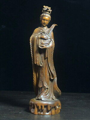 Decoration Ancient Boxwood Carving Beauty Holds Jean Precious Beautiful Statue