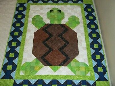 New Handmade Baby Girl Boy Quilt Crib Blanket Turtle Green Blue Patchwork
