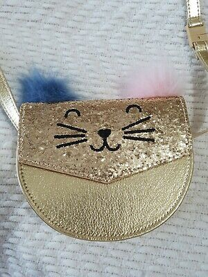 Marks & Spencer M&S Kids Girls gold Shiny glitter cat fluffy pom poms Small Bag