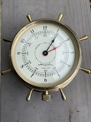 Vintage AIRGUIDE 7 Jewels 8 Day Maritime Nautical Ships Wheel Helmsman Clock