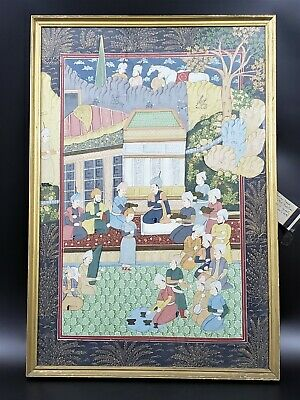 Large Hand Painted Antique/Vintage Persian Painting - Framed - 29 Inches!