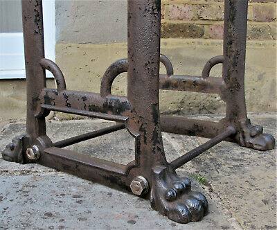 Vintage Industrial LIONS PAW CAST IRON TABLE BASE Machine Stand Legs Dining Ends
