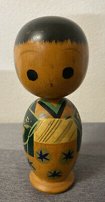 """Vintage Antique Rare Signed Japanese Kokeshi Doll Hand Carved Painted 7"""" Tall"""