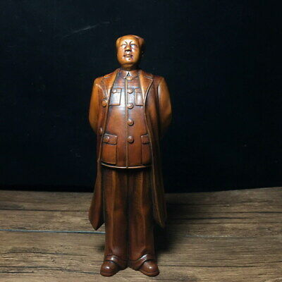 Handwork Decoration Boxwood Carving Great Leader MAO Zedong Auspicious Statue