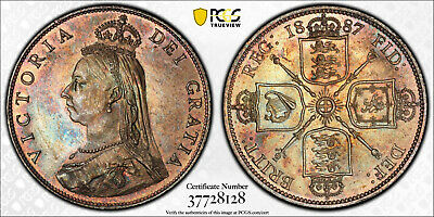 1887 Victoria Jubilee Head One Florin (2S) S-3925 Lovely MS63 PCGS-VDB Coins