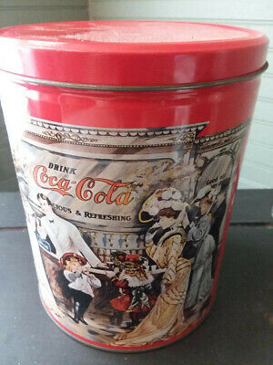Coca Cola~ Vintage Round Tin Canister 1995