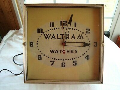 Antique vintage WALTHAM WATCHES jewelry store advertising clock Art Deco frame