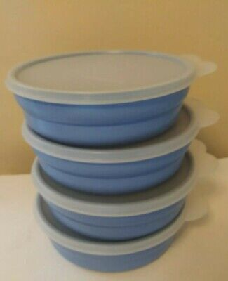 Tupperware Set of 4 Blue Cereal Bowls With Lids - #2415 & #2541