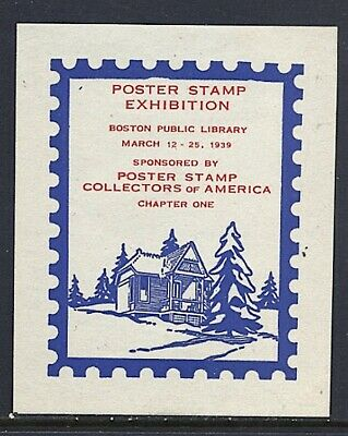 Philatelic Labels Poster Stamp Collectore of America 1939 Boston Blue