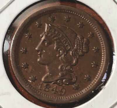 1849 Large Cent, Braided Hair, Sharp Choice AU++ Early Collector Copper