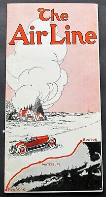 THE AIR LINE 1923 Brochure Eton Hotel Waterbury CT Graphic Cover w Map To Boston