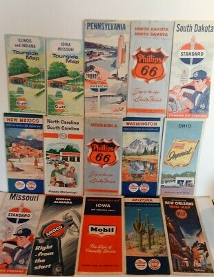 (15) 1950's-60's Gas Station State Road Maps ATLANTIC Gulf American 66 Esso