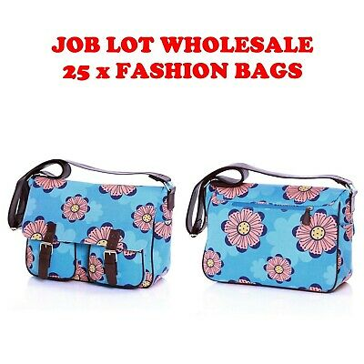Job Lot Wholesale Pack of 25 Womens Girls Fashion Printed Canvas Satchel Bags