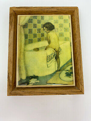 "Wood Framed Tile Girl Getting Into Bathtub Vintage From Nordstrom's 7.5""x6"""