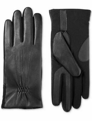 Isotoner Women Stretch Leather Touchscreen Gloves SleekHeat Black L/XL