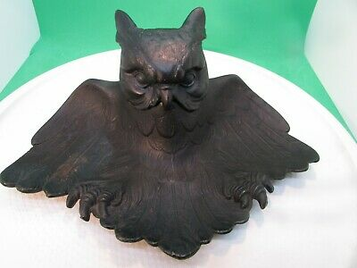 """Estate Find - Painted (Black) Cast Iron OWL Ink  Stand - approx 9 x 6 x 4"""""""
