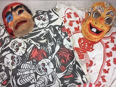 Lot of 60's 70s Vintage Child Halloween Costume Old Man Pirate Mask Bunny